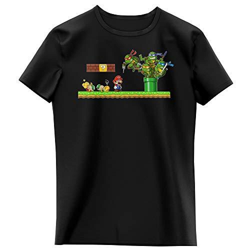 T-shirt Enfant Fille Noir parodie Tortues Ninja - Super Mario - Leonardo, Raphael, Donatello, Michelangelo et Mario - La revanche des Tortues (Super Deformed Edition) (T-shirt enfant de qualité pr