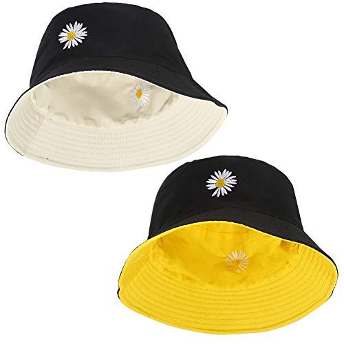 2 pezzi Cappello da Pesca Cappello da Pescatore Unisex Cotone e Poliestere Cappello da Sole Cappellino Piatto Pieghevole Cappello Pescatore per Escursionismo Campeggio in Viaggio Pesca per Uomo Donna