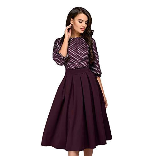 TIMEMEAN Damen 3/4 Ärmel Kleid Lässiges hübsches Druckkleid Frauen Partykleid