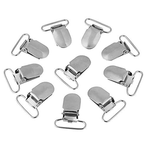 Clip de chupete para bebé, clip de chupete de boca plana de metal, clip de liga, juguetes para la dentición, plateado (25 mm)