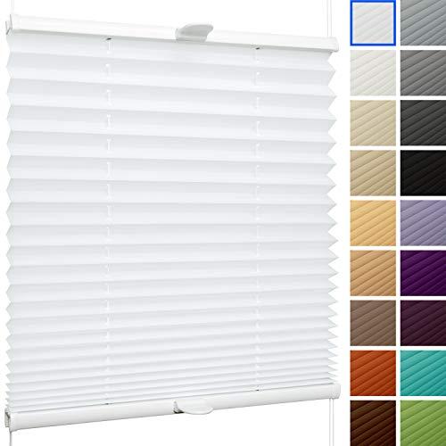 SchattenFreude Plissee nach Maß für Fenster & Tür | Zum Anschrauben in der Glasleiste | Reinweiß, Breite: 200-500mm x Höhe: 300-1000mm