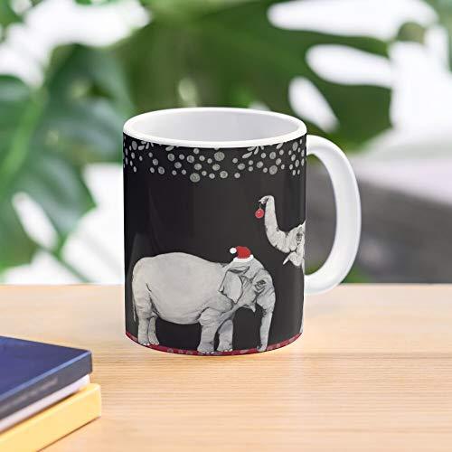 Hats Mug Merry Elephants Wearing Santa - - Taza de café de regalo de moda superventas negra, blanca, cambia de color 11 onzas, 15 onzas para todos…