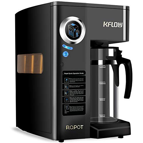 KFLOW Countertop RO Water Filter, Reverse Osmosis Water Filter System, Tankless Water Purifier with 4-Stage Multi Filtration Tech and Filter Life Monitor, Zero Installation (KFL-ROPOT-180-Black)