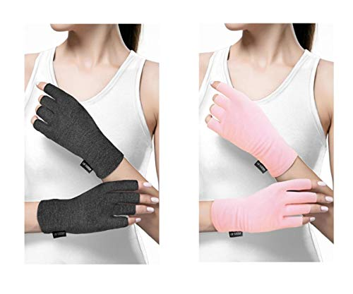 Copper Compression Cotton Arthritis Gloves. Best Copper Infused Glove for Arthritis Hands, Arthritic Fingers, Carpal Tunnel, Computer Typing, Hand Support. Fingerless. Fit for Women and Men. (1 Pair)