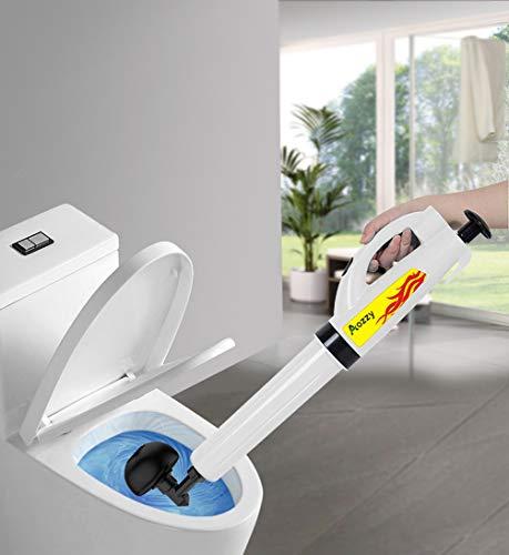 Aozzy Druckluft Rohrreiniger 0.8Mpa maximalen Druck Hochdruck Abflussreiniger 3 Aufsätzen Multifunktionale Reinigungspumpe Rohrreinigungspistole für Bad und Küche
