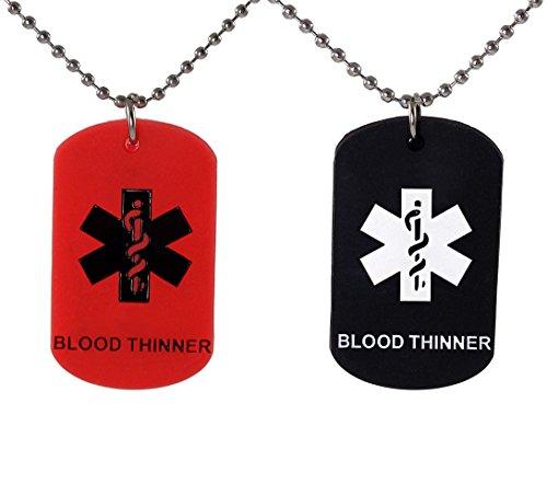Max Petals 2Unidades–Sangre Thinner Etiquetas de Perro Collar de Alerta médica Rojo...