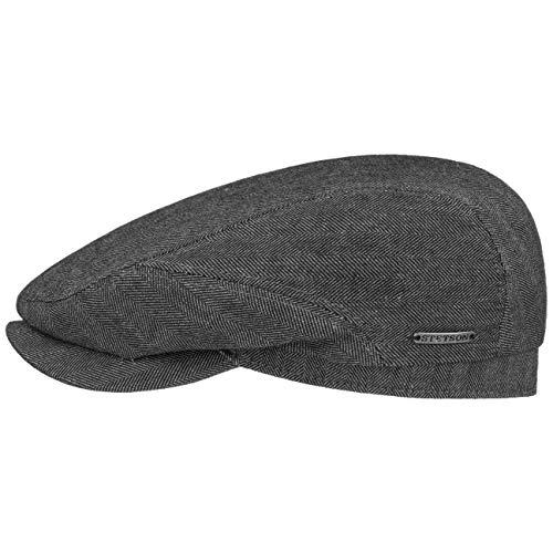 Stetson Belfast Cotton-Mix Flatcap Herren - Made in EU - Schirmmütze gefüttert - Schiebermütze mit Leinen und Baumwolle - Mit integriertem Sonnenschutz - Frühjahr/Sommer anthrazit 61 cm