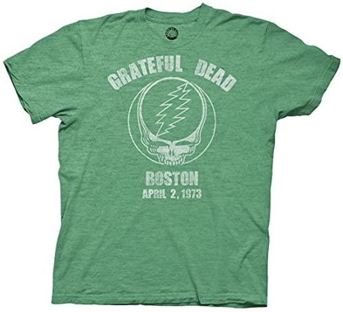Ripple Junction Grateful Dead Boston 73 Adult T-Shirt Large Heather Green