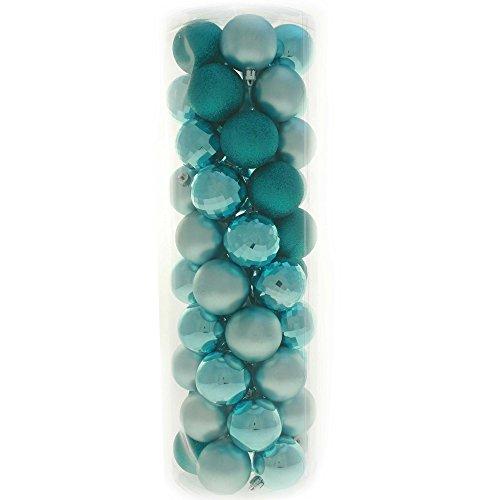 WeRChristmas Bruchsichere Christbaumkugeln, farblich aufeinander abgestimmtes Set mit 50 Stück Türkis/Blau