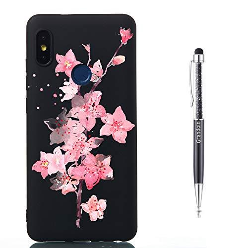 Grandoin Funda para Xiaomi Redmi Note 5 Pro, Suave Silicona Patrón Creativo TPU Gel Bumper Suave Ultra Fina Antigolpes Delgado Cover Protectora Case Carcasa (Flores De Cerezo)