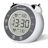 REACHER Despertador alto, despertador digital doble con repetición, retroiluminación, fácil de alimentar a pilas, para dormitorio (blanco)