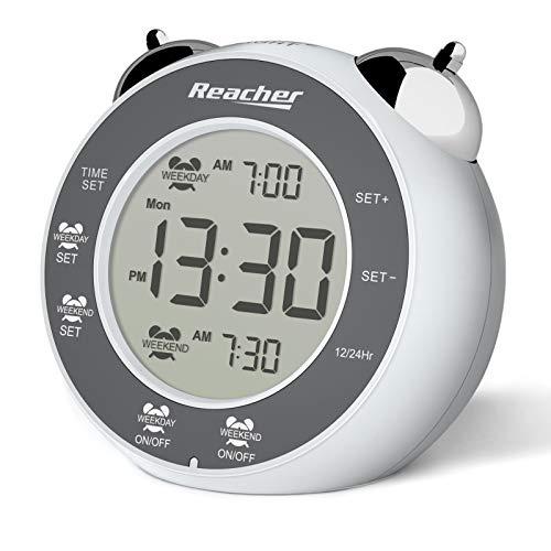 REACHER Lauter Wecker, Digitaler Doppelwecker mit Schlummer, Hintergrundbeleuchtung, Einfache Batteriebetriebene Glockenwecker Schlafzimmer (Weiß)