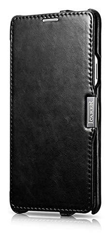 ICARER Tasche passend für Samsung Galaxy Note 4 / SM-N910, Hülle mit echtem Leder, Schutz-Hülle seitlich klappbar, Ultra-Slim Cover, dünne Handy-Hülle, Etui im Vintage Erscheinungsbild, Schwarz