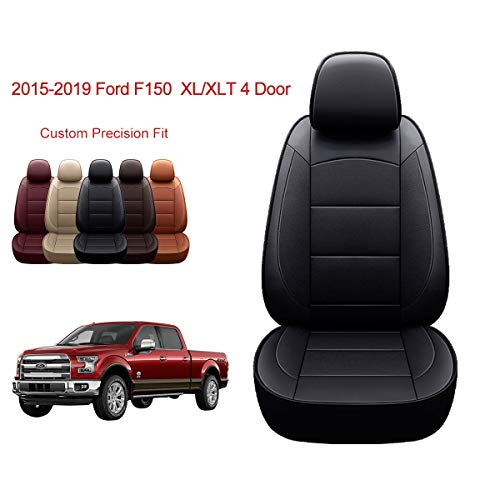 OASIS AUTO | 2015-2020 F150 Truck | 2017-2020 F250 F350 |Custom Fit PU Leather Seat Covers Full Set Compatible with Ford F-150 F-250 F-350 XL XLT Lariat Limited Platinum Pick up (Black)