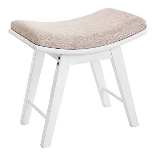 SONGMICS Dressing Stool Rubberwood Legs Padded Bench Concave Seat Surface Modern White RDS51W