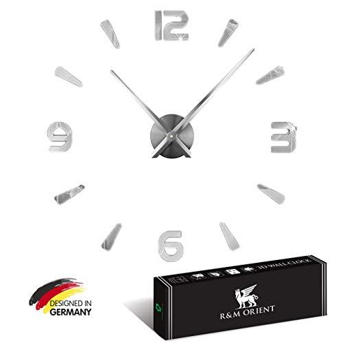 R&M Orient Reloj de pared 3D grande y moderno para manualidades, decoración para el salón, el hogar o la oficina (plata 10)