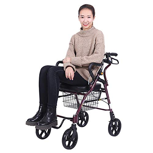 Shopping Bags Walker Small Cart Old Cart Grocery Shopping Cart Wheelchair Pushable Can Sit Elderly Folding Walker Four-Wheel Shopping Cart Load 100kg Give The Best Gift for The Elderly Shopping