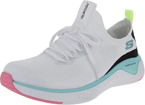 Skechers Stretch Flat Knit Laced Slip- Sneaker Damen, Weiß (White Knit Mesh/Multi Trim Wmlt), 39.5 EU