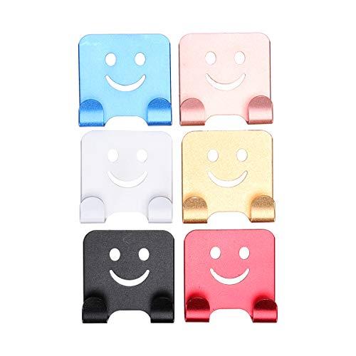 Vosarea 6pcs Lächeln Gesicht selbstklebende Haken Metallwand Haken Nagel frei schwere Haken Tür Deckenhalter für Küche Bad Handtuch Mantel