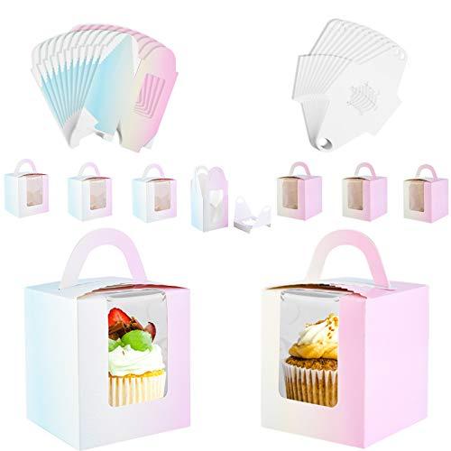 Pajaver 20 Stück Cupcake Boxen, Cupcakes Behälter tortenkartons mit Fenstereinsatz und Griff für Verpackung Kuchen Muffin Kekse
