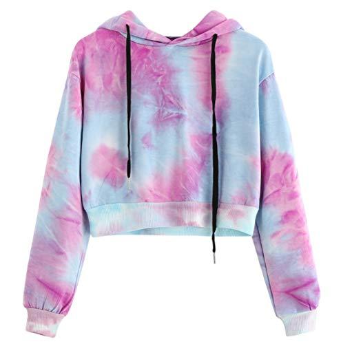 Women Hoodie TUDUZ Sale Clearance Womens Tie Dye Printed Hooded Sweatshirt Long Sleeve Sport Short Pullover Tops BlousePurpleLUK12
