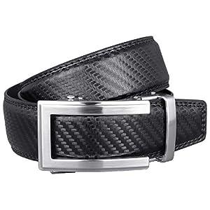 ベルト メンズ 本革 おおきいサイズ 穴なし ビジネス カジュアル ブランド おしゃれ 無段階 オートロック ロング 紳士ベルト カーボン調 革 130 ブラック MBD-481sv-BK
