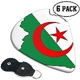 Drapeau unique de l'Algérie Celluloid Guitar Pick 6 Pack - Cadeaux de musique pour guitares basses, électriques et acoustiques 0.96mm