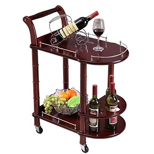 XINGRUI Productos de Calidad Hotel Dining Cart con Ruedas Doble Capa Mesa de Madera Wine Cart Salón de Belleza Carros de Cocina Soporte Lateral Muebles de Hotel