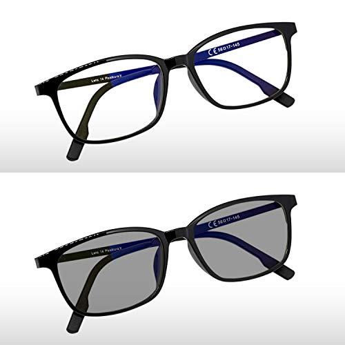 Pixel Lens PHOTOCROMIC Sunny- Gafas para Ordenador, TV, Tablet,Gaming. contra EL CANSANCIO Ocular, Confort Visual, Montura Ligera, CERTIFICADA LUZ Azul - 41% Y UV -100% EN LA Universidad DE TURÍN
