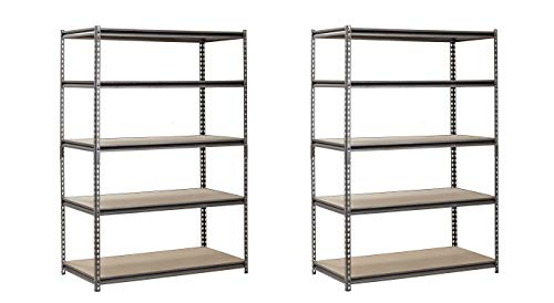 "EDSAL Heavy Duty Garage Shelf Steel Metal Storage 5 Level Adjustable Shelves Unit 72"" H x 48"" W x 24"" Deep (Pack of 2)"