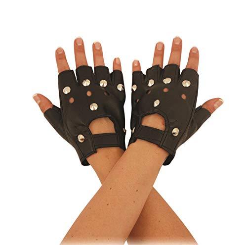 Islander Fashions Biker negro Dedo sin dedos de imitaci�n de cuero Guantes con tachas Ropa deportiva para adultos Guantes de talla �nica (Ropa)