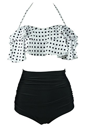 COCOSHIP White & Black Polka Dot Retro Boho Flounce Falbala High Waist Bikini Set Chic Swimsuit Bathing Suit XXXXL(FBA)