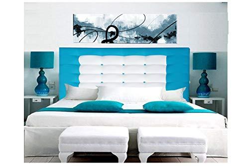 ONEK-DECCO Cabecero de Cama en Polipiel Mod. Florida Largo con Forma de Marco y Botones,Acolchado de Espuma,de niño, Juvenil y Matrimonio, Altura 125 cm. (105X125, Azul-Blanco)