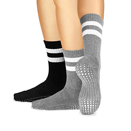 LA Active Grip Socks - 2 Pairs - Yoga Pilates Barre Ballet Non Slip Crew Hospital (Jogger Grey and Tuxedo Black with Stripes, Medium)