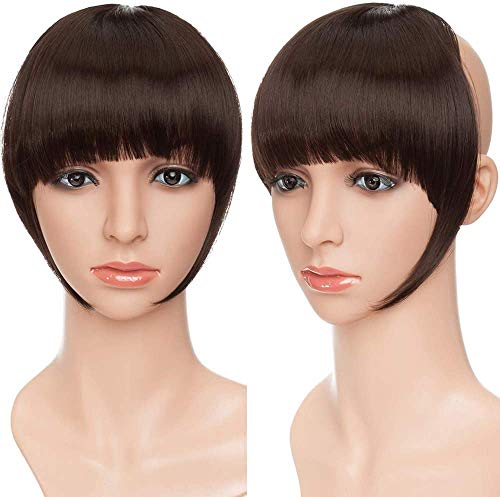 SEGO Frangetta Clip Finta Capelli Frangia Frontale Clip Extension Hair Bang Fascia Unica Corta Capelli Lisci Posticci Donna Fringe 30g Marrone Scuro