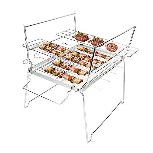 Folding Campfire Grill, LINGSFIRE Portable Camping Grill Grate Over Fire 304 Stainless Steel Grate with Kabob Skewers & Carrying Case BBQ Grill for Outdoor Cooking, Picnics, Barbeque, Backpacking