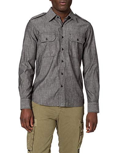 REPLAY M4050 Camisa, Gris (097 Dark Grey), M para Hombre