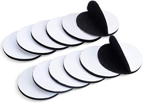 GTIWUNG 12 Stück Klettband Selbstklebend, Industrielle Klettband Klebepad, 5 cm x 5 cm Hochwertiges Klettverschluss Teppich Pad, Starke Klettband Klebepad, Runde, Schwarz