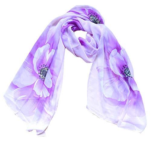 EFADC Bufanda 160 cm x 50 cm Moda patrón de Flor Bufanda de Seda Mujeres Abrigo mantón de Gasa Bufanda Bufandas de otoño por Mayor Precio