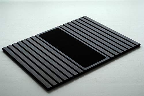 Kos Design - Bandeja de bambú antideslizante para todos los reposabrazos, color natural oscuro