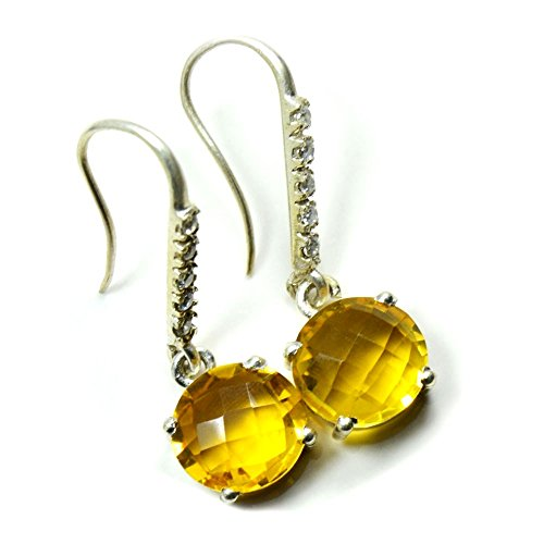 Jewelryonclick - Pendientes de plata de ley 925 con diseño de citrino natural