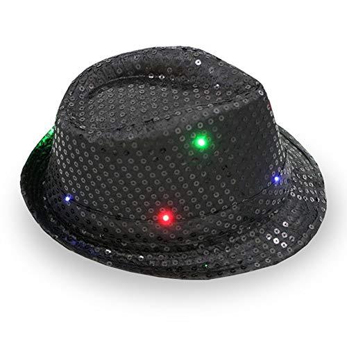 ddellk LED-jazz-hoed, knipperend, knipperend sequin-jazz-kap voor feest-kerstpodiums-performance-glut-hoed 58cm Adjustable zwart