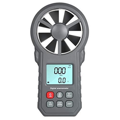 CWWHY LCD-Digital-Anemometer Handwindgeschwindigkeit Meter, Windsensor/Luftgeschwindigkeit/Lufttemperatur Test Tool, Mit Taschenlampe