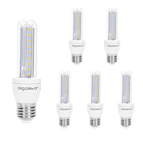 Aigostar - Pack de 5 Bombillas LED T3 2U 8W, E27 casquillo gordo, Luz Cálida 3000K, Ángulo 360°, 640 lúmenes, no regulable