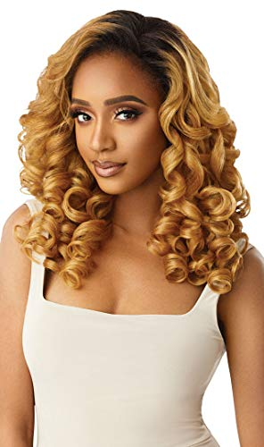 Outre QUICK WEAVE New Half Wig Cap Full Volume Long Curly Wave Bob Premium Synthetic High Heat Resistant 60 Seconds Self Style Instant Transformation - JEANETTE (1B)