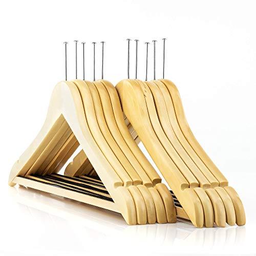 HANGERWORLD 10 Natural Wooden 177inch Hotel Coat Clothes Garment Non Slip Inlaid Bar Hangers Metal Security Ring