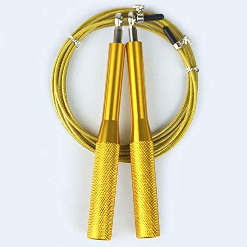 Qutdoor-QJ - Cuerda de saltar para fitness, ejercicio, entrenamiento, boxeo, entrenamiento, crossfit, hombres, mujeres y niños, equipo de gimnasio, amarillo