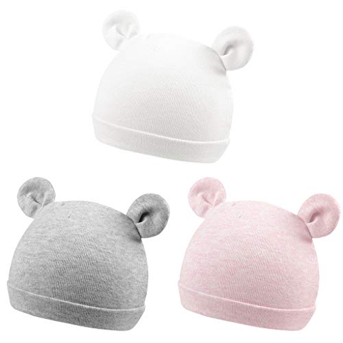 FUOITA 3 Pack Baby Cap Preemie Ear Cotton Newborn Hospital Hat Infant Boys and Girls Bear Ears