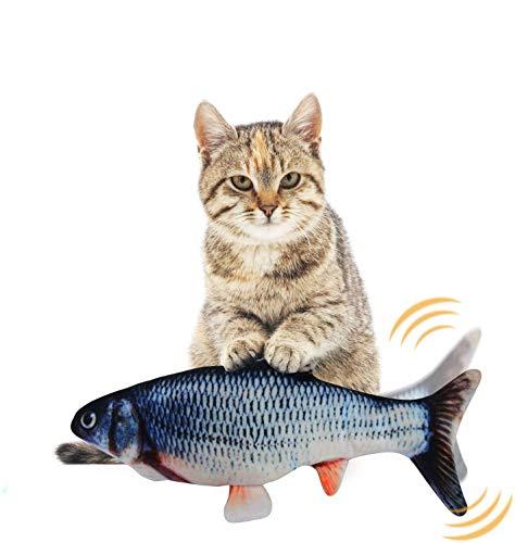 EKKONG Spielzeug mit Katzenminze, Elektrische Fische Katze, Katze Interaktive Spielzeug, Simulation Plush Fisch, Kissen Kauen Spielzeug für Katze für Katze, Kitty (Type D)