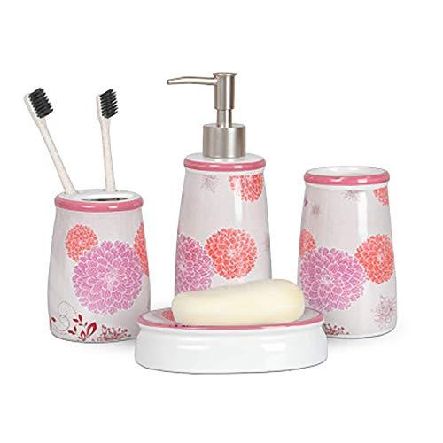 Kleine Badezimmerkeramik-Kits, exquisite Handwerks Badezimmer-Accessoires Set Nordic-Stil Keramik-Sanitärwaren-Vier-teiliges Hortensie-Waschen-Set Badezimmer-Mundwasser-Tasse Bürstbecher Set Zahnbürst